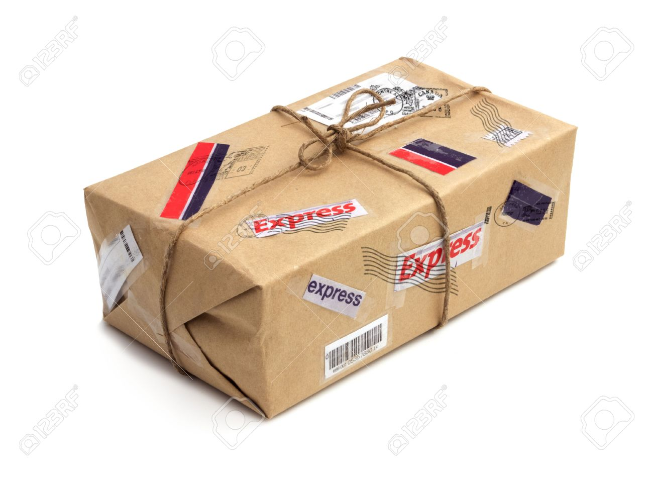 Postal package isolated over the white background Standard-Bild - 23796715