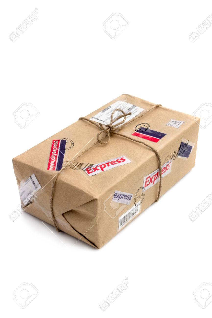Postal package isolated over the white background - 23796717