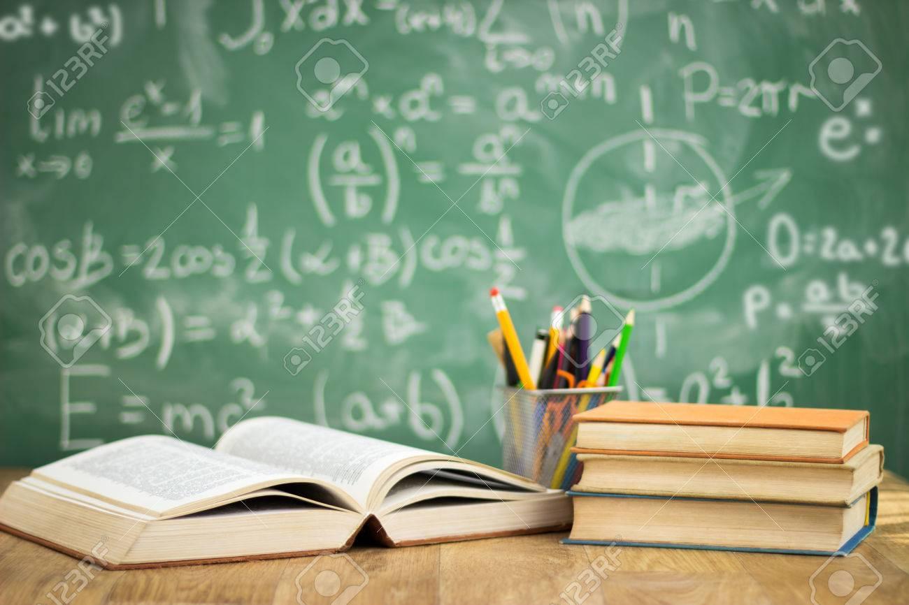 School books on desk, education concept Standard-Bild - 33271644