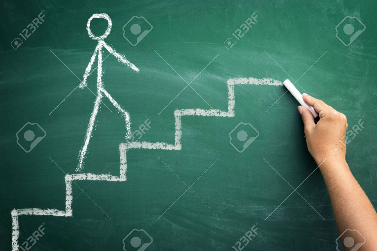 human hand drawing career stairs with chalk on chalkboard Standard-Bild - 33271650