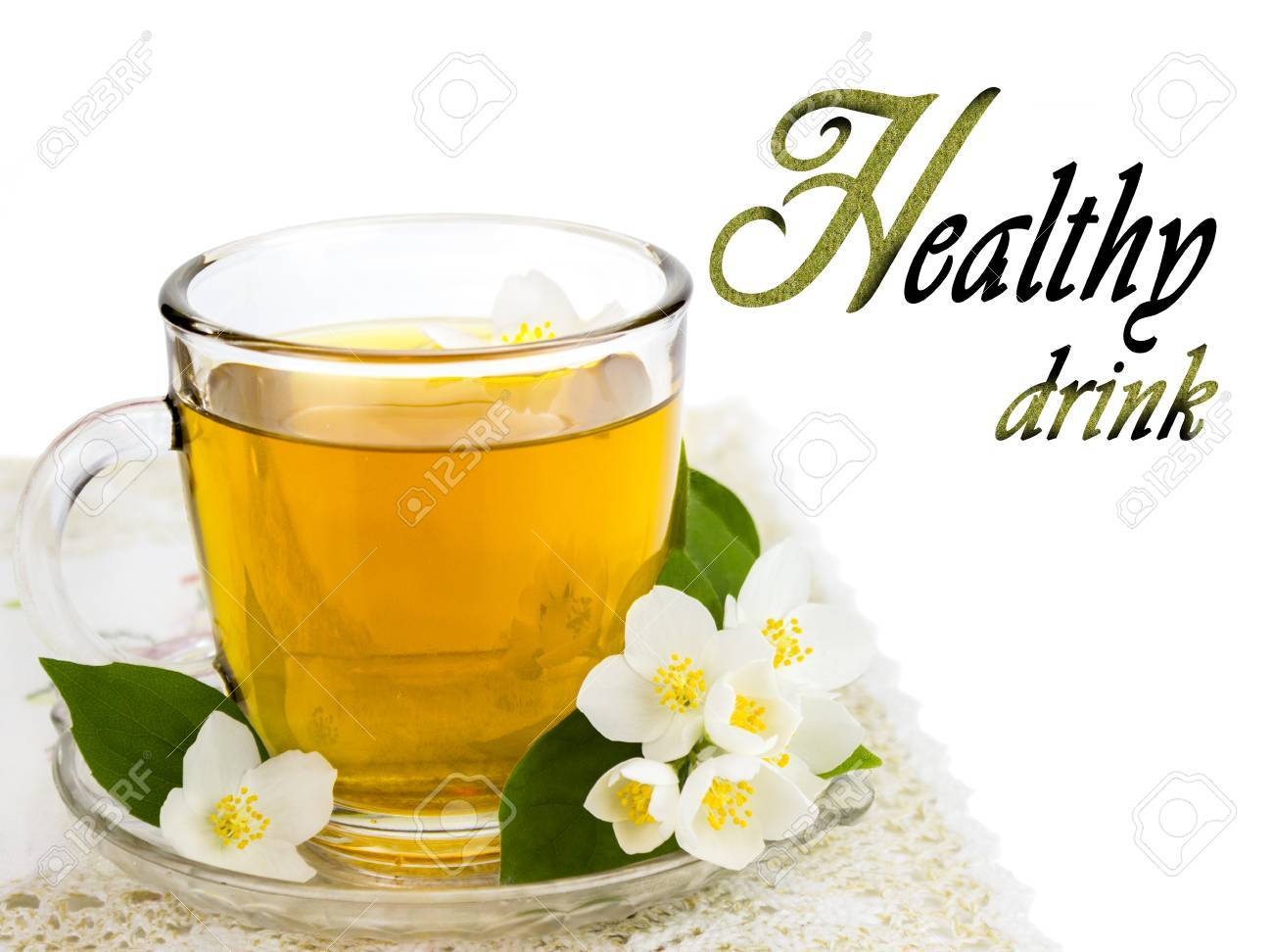 Transparent Cup Of Tea With Jasmine Flower Healthy Drink Stock