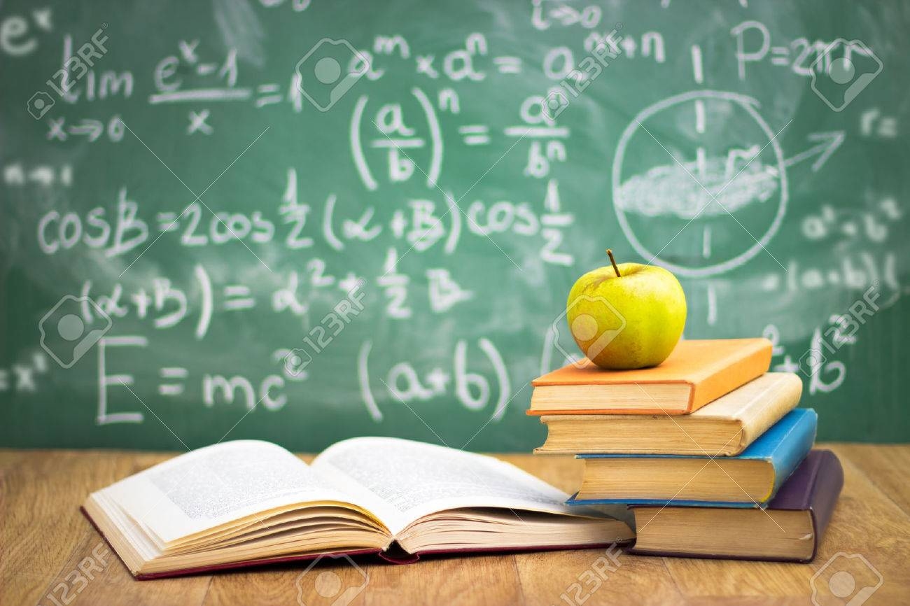 Stack of books in classroom, concept - back to school Standard-Bild - 33271948
