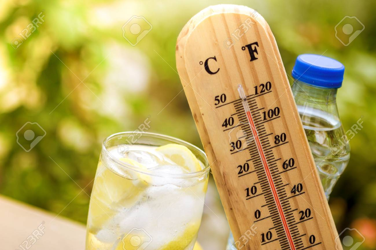 Refresh drink with thermometer, concept warm weather - 71337639
