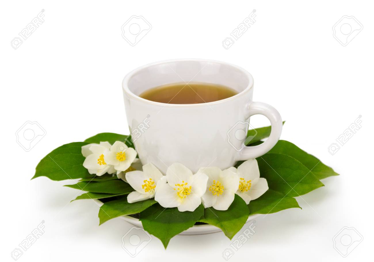 Cup Of Tea With Jasmine Flowers In Plate Stock Photo Picture And