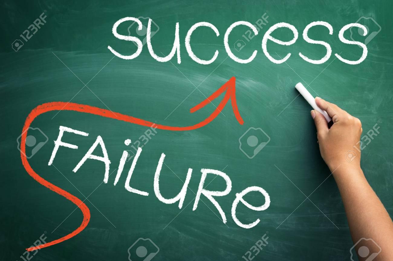 Success concept on blackboard - go straight to success and avoiding failure - 72848092