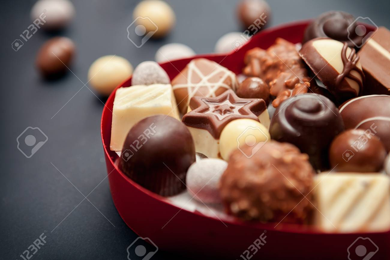 Box Of Tasty Chocolates For Valentines Day Stock Photo Picture And