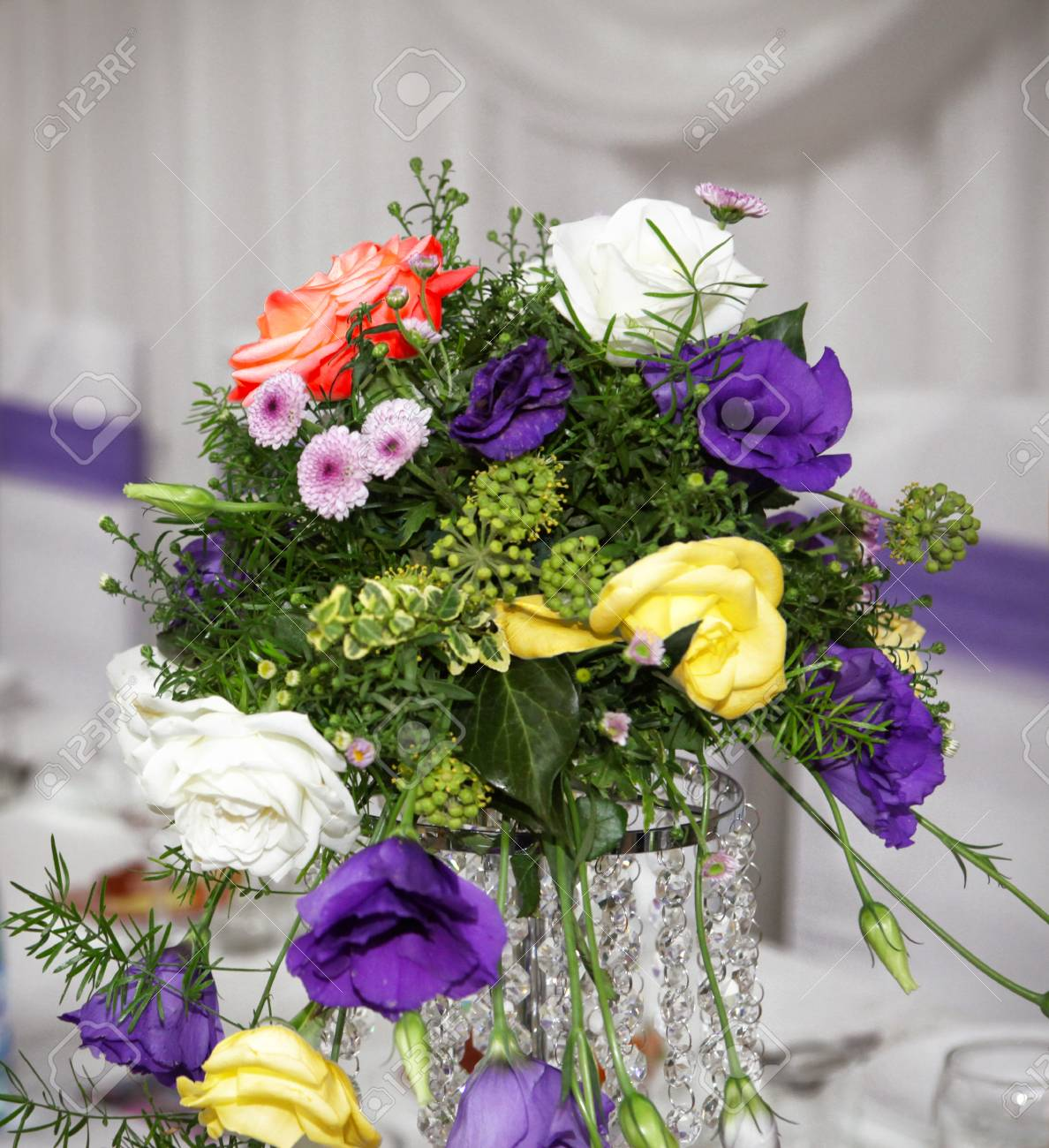 Beautiful Wedding Bouquet Wedding Table Decoration Lizenzfreie Fotos