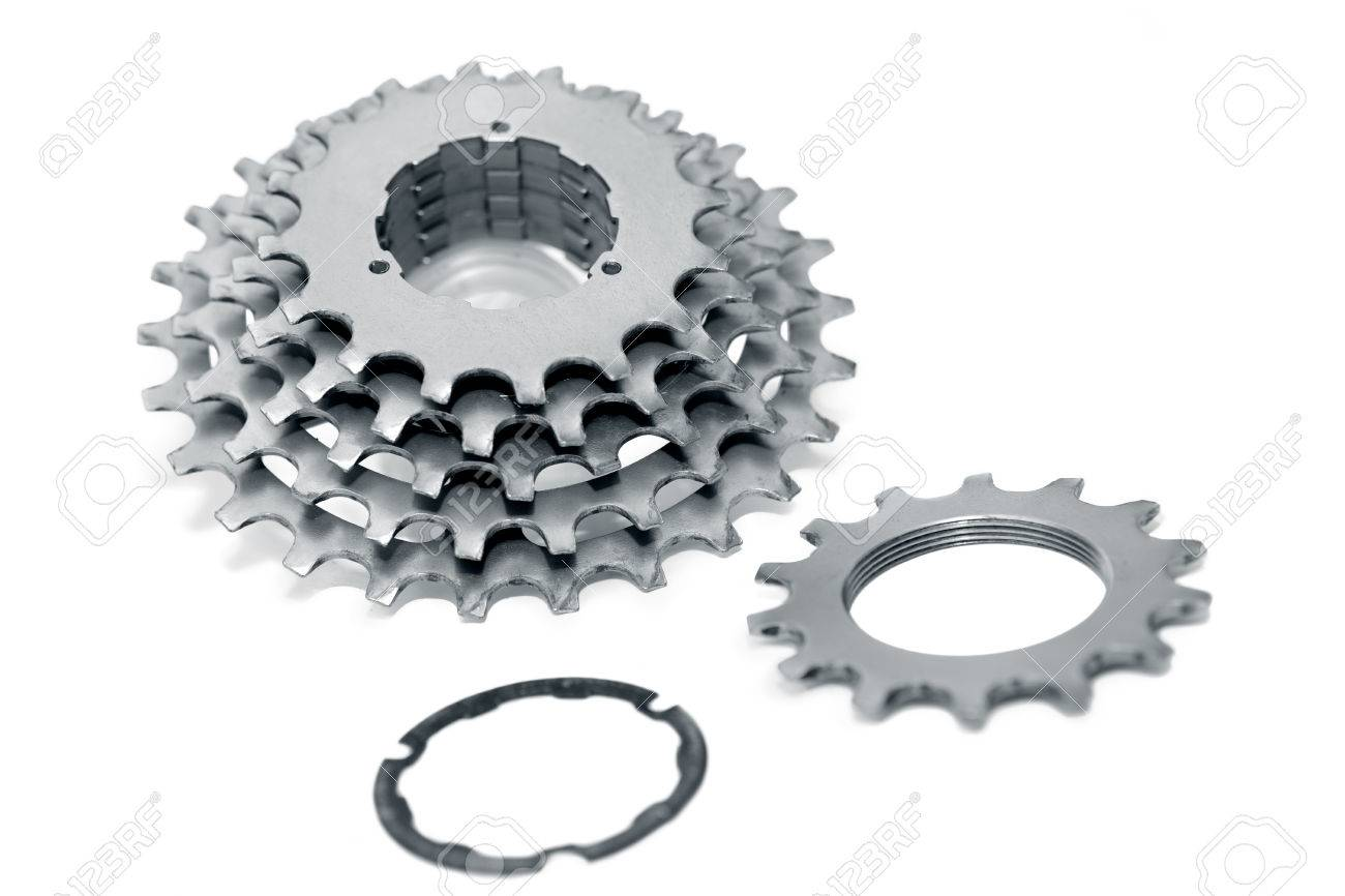 bdfe834c42c Bicycle chainrings set on white background,bike spare parts Stock Photo -  77671066