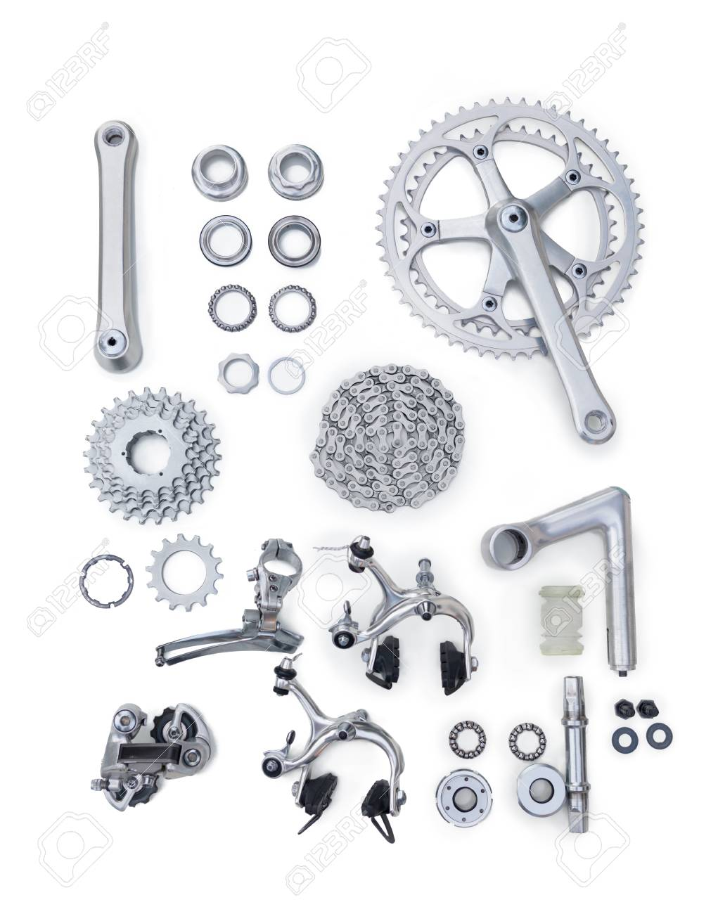 Set Of Bicycle Spare Parts On White Background Stock Photo Picture