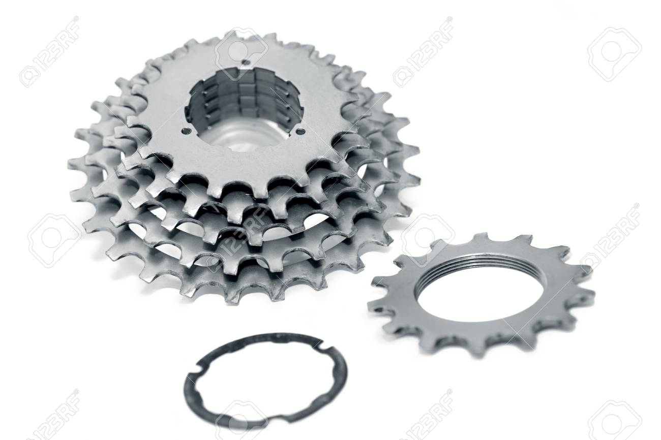 Bicycle Chainrings Set On White Background Bike Spare Parts Stock