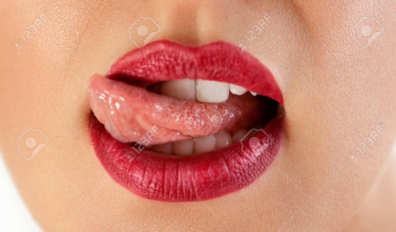 Sexy Red Licking Lips Beautiful Lip Lipstick And Lipgloss Passionate Tongue And