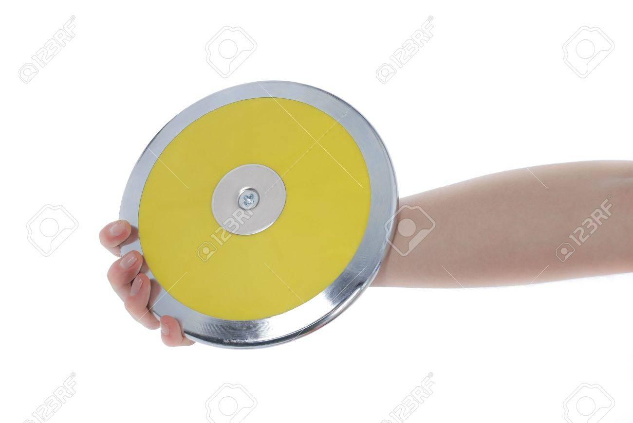 Hand holding a discus on a white background. Stock Photo - 7429528