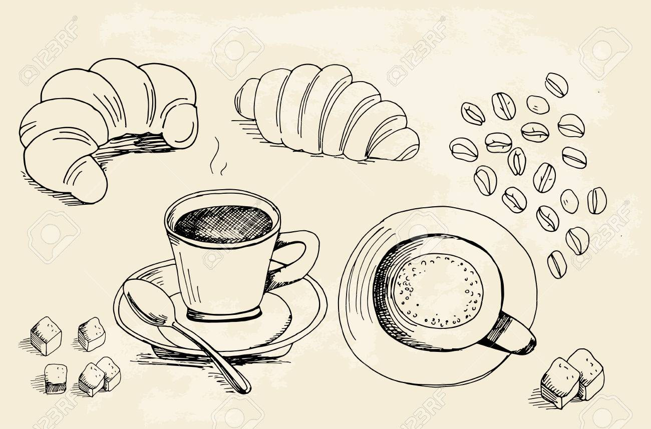 Set of doodles hand drawn rough simple coffee theme sketches various kinds of coffee