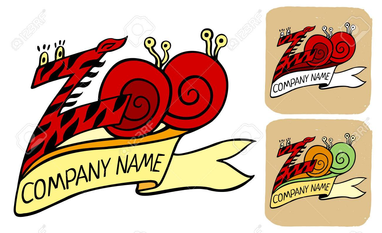 zoo logo or label in zebra pattern and snails with ribbon title