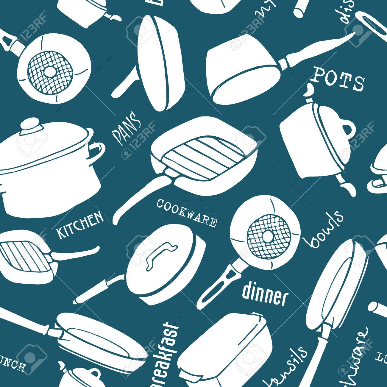 Seamless Pattern Of Kitchen Utensils With Titles. Cookware, Home ...
