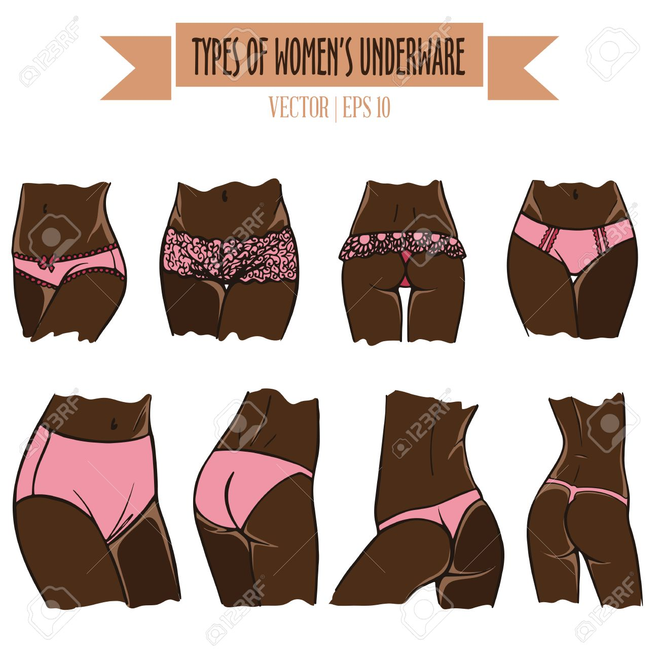Hand drawn types of women s underwear. Vector set in sketch style for dark  skin tone 277b3627e