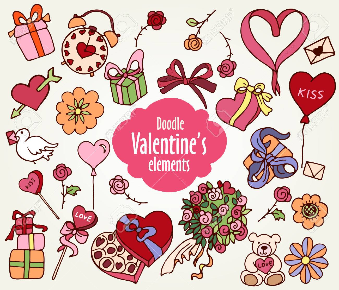 Cartoon Vector Elements For Valentines Day Presents Hearts Ribbons Flowers And Other