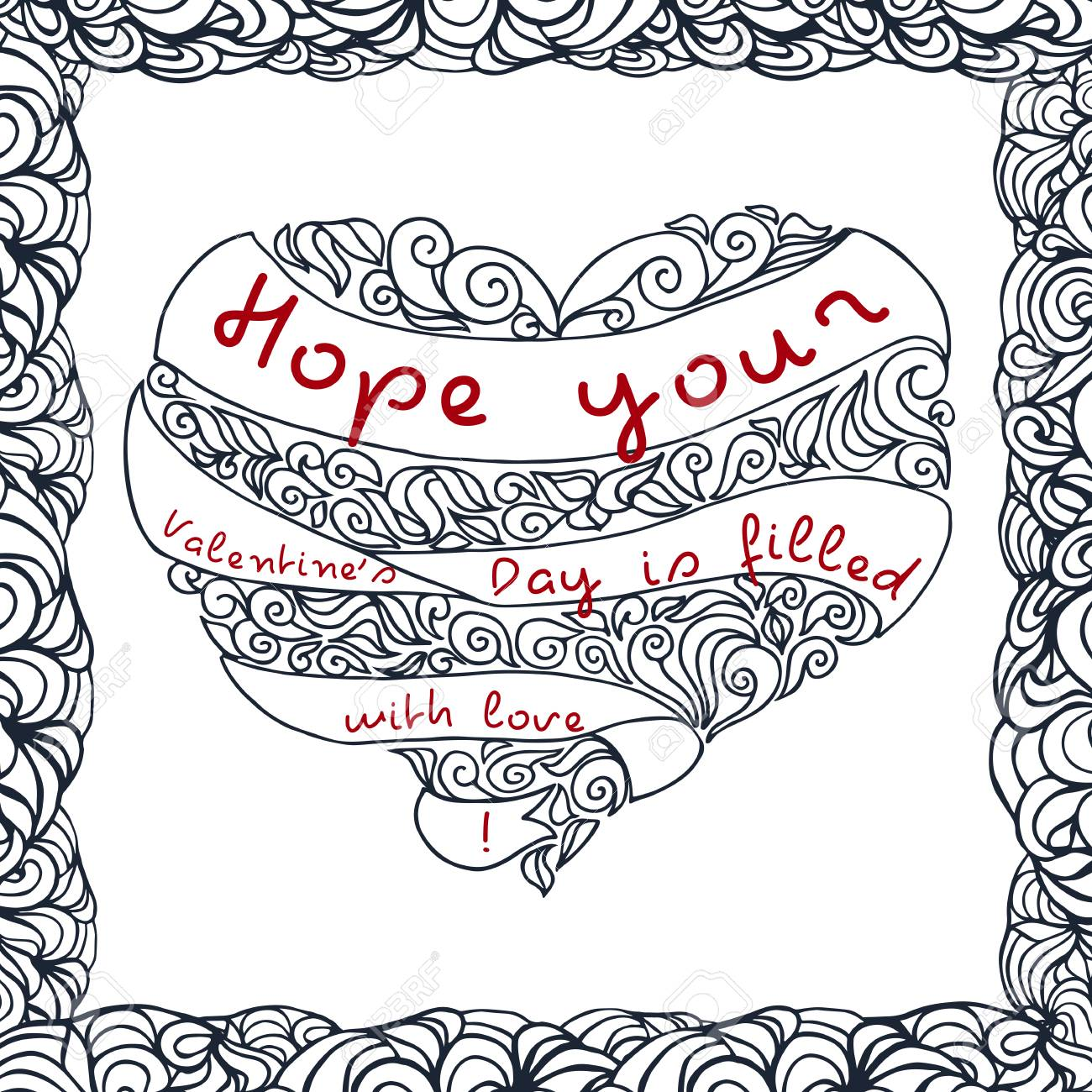 Doodle Valentines Day Postcard Design. Vector Template Of Invitation ...
