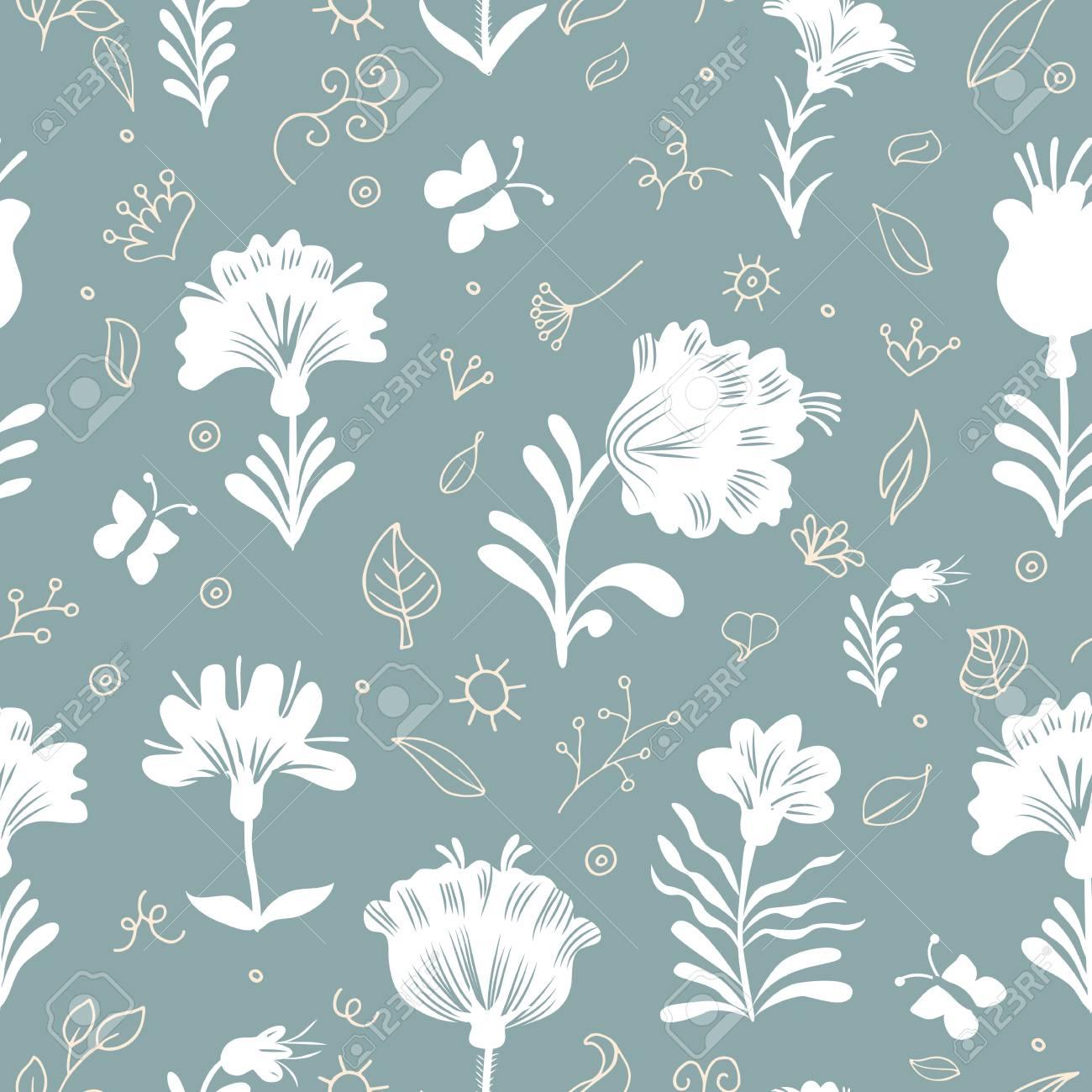 シームレスな花柄の壁紙 クラシックなスタイルの花と落書き要素パターン 青色の背景色のベージュと白の飾りのイラスト素材 ベクタ Image
