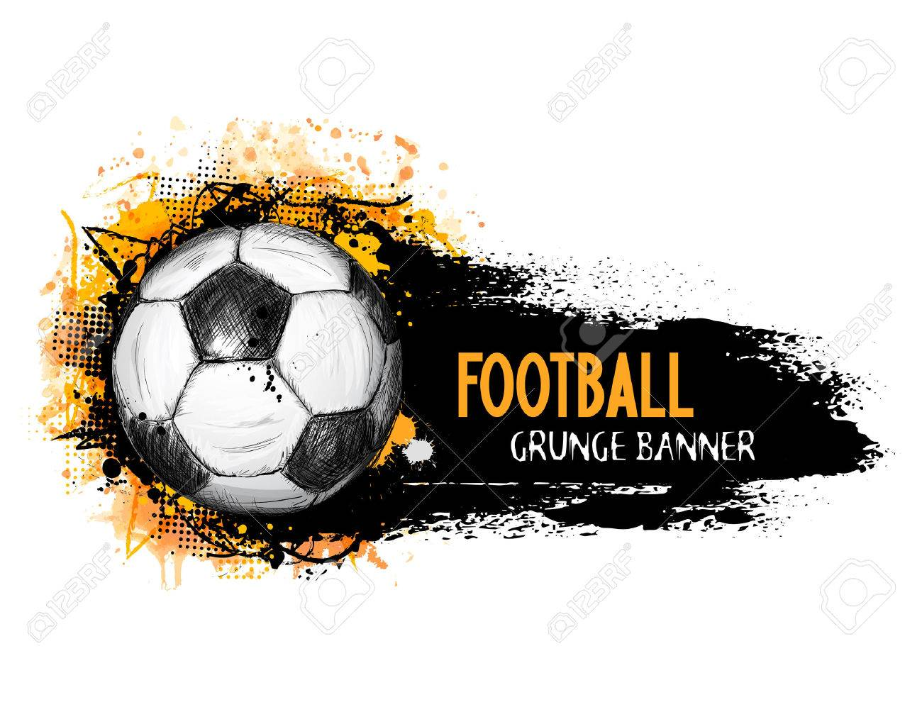 Hand drawn vector grunge banner with soccer ball, stylish composition and orange watercolor background, in doodle style - 54122402