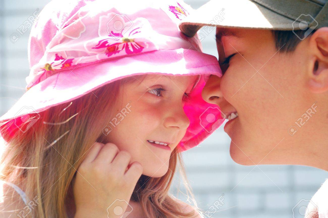 portrait of two kids looking at each other with tender expression Stock Photo - 5438994