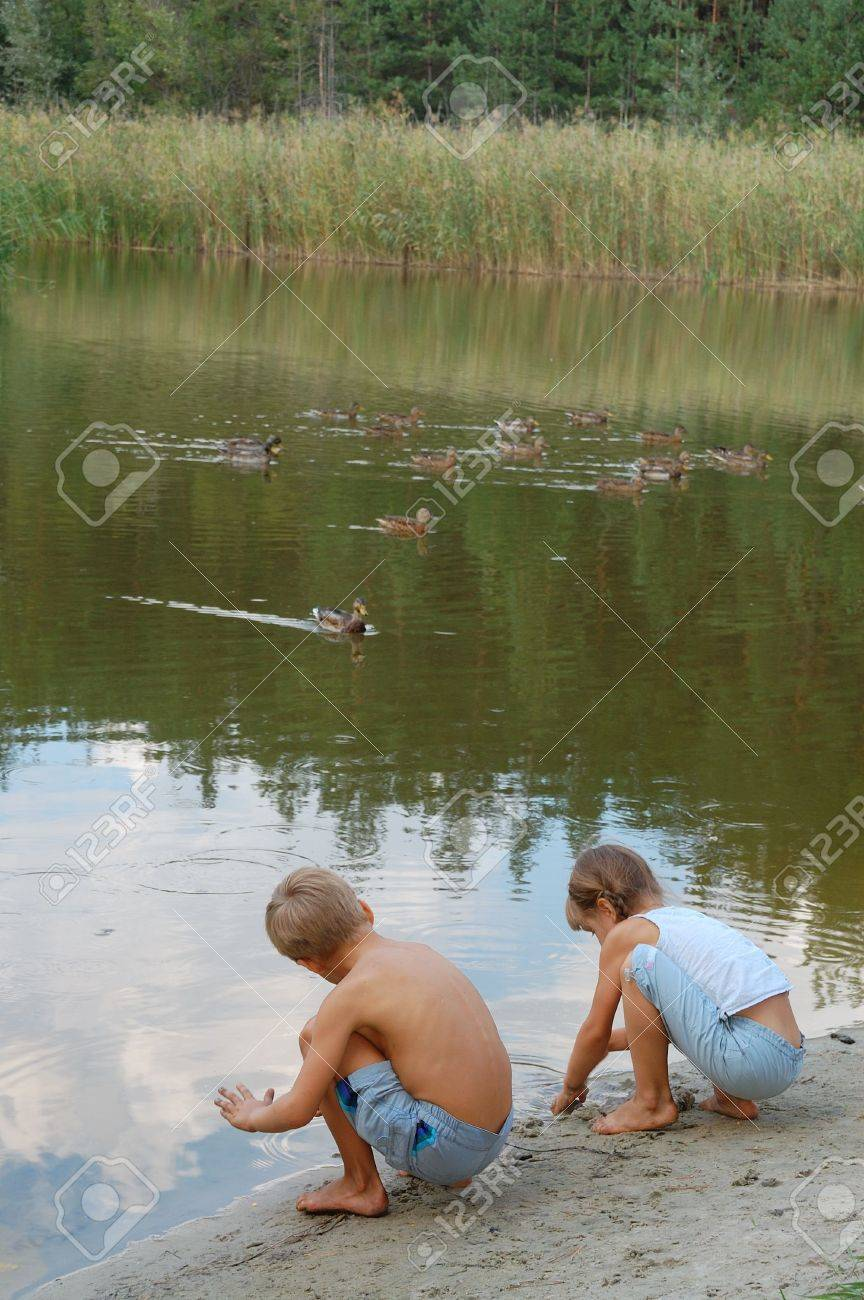 Two Kids Playing On The Lakecoast And Feeding Wild Ducks Stock Photo ...