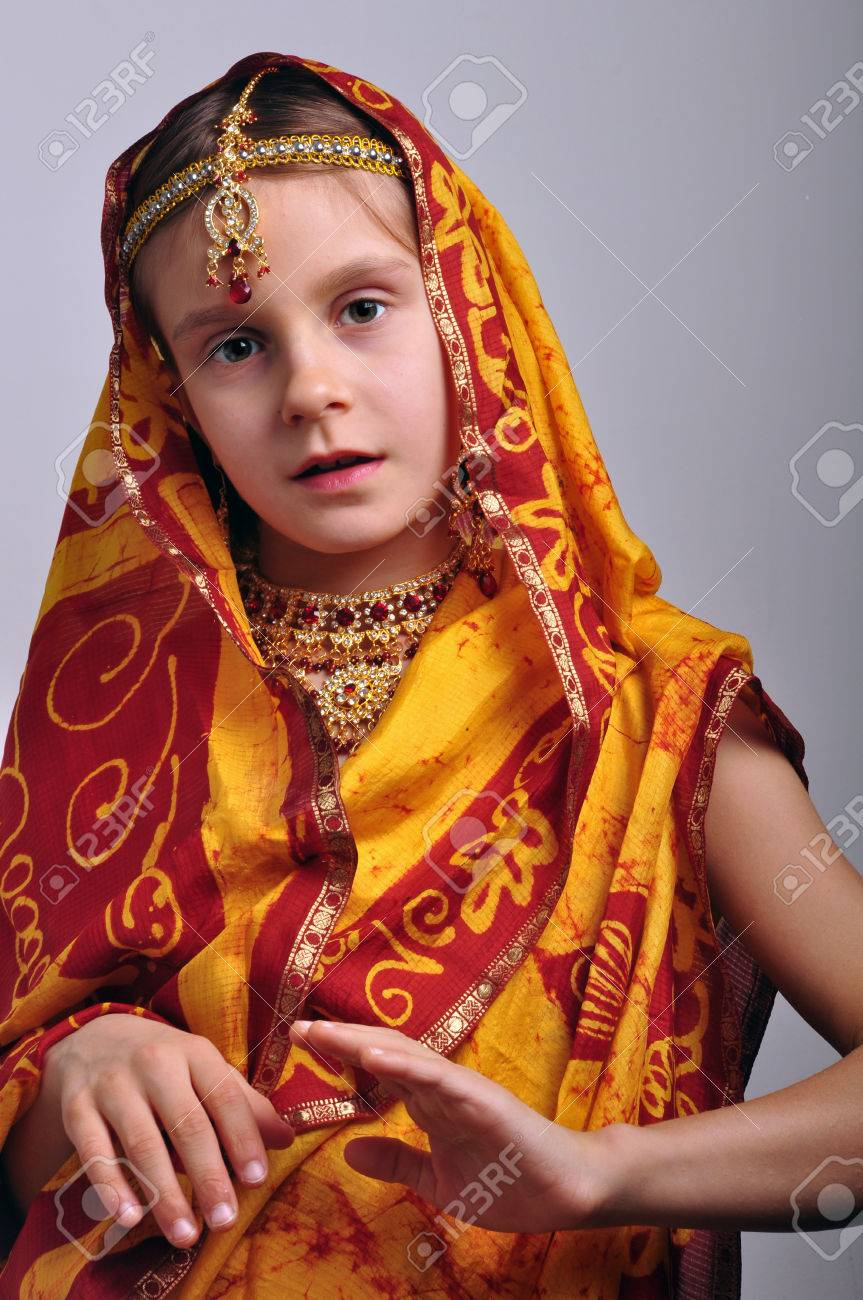 137a6bc03f portrait of a little girl in traditional Indian clothing and jeweleries  Stock Photo - 24679907