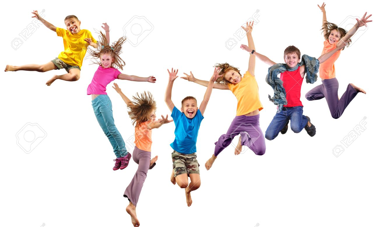 Large group of happy cheerful sportive children jumping and dancing. Isolated over white background. Childhood, freedom, happiness concept. - 50350259