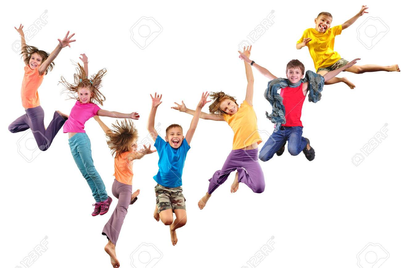 Large group of happy cheerful sportive children jumping and dancing. Isolated over white background. Childhood, freedom, happiness concept. - 51429417