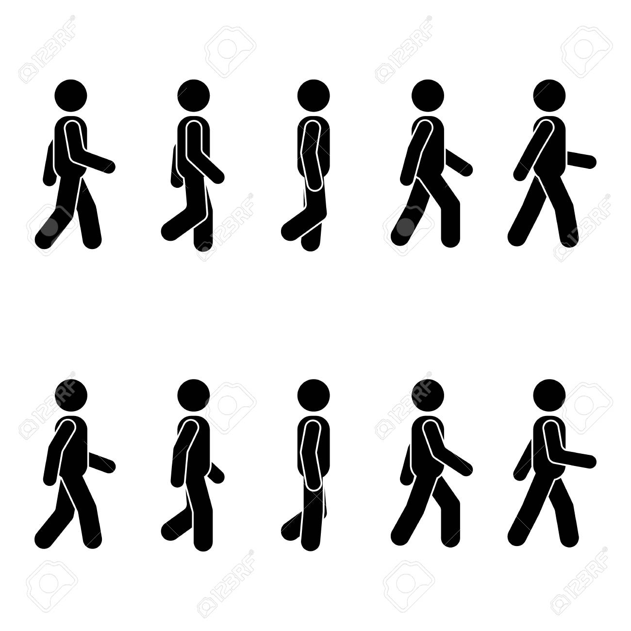 Man people various walking position. Posture stick figure. Vector standing person icon symbol sign pictogram on white - 85329308