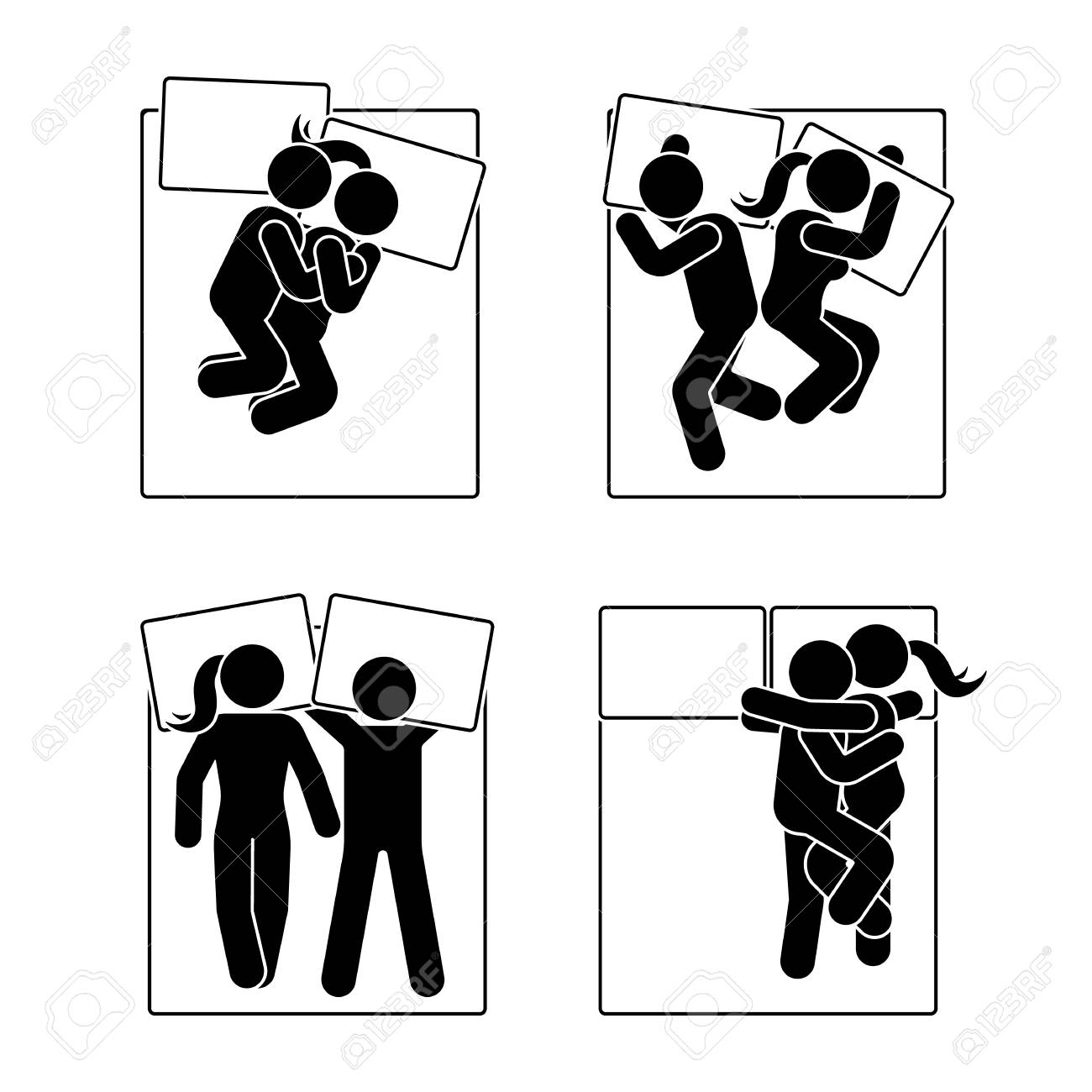 スティック図異なる睡眠の位置を設定します。別の夢を見てカップルの