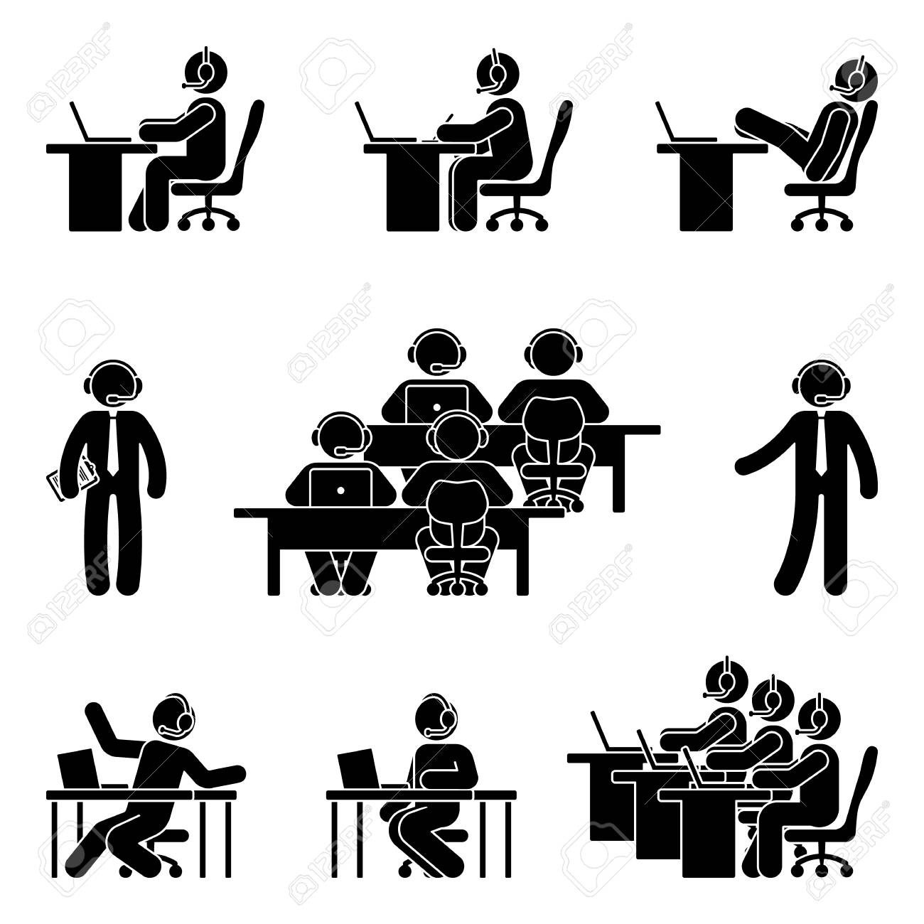 Stick figure working man using computer in call center. Vector illustration of customer support icon set on white - 99222845