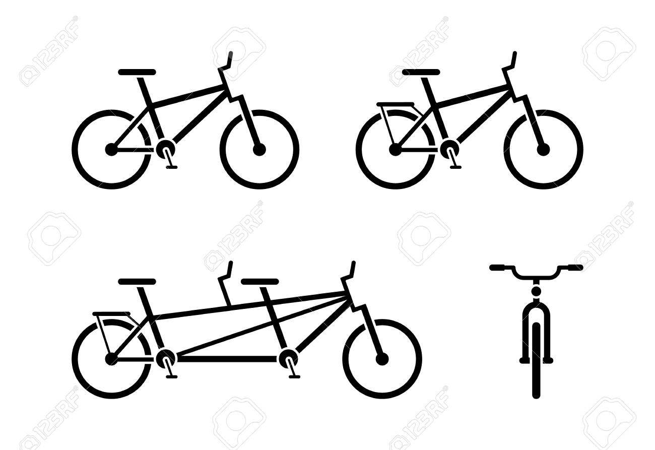 Bicycle icon pictogram  Classic, tandem bike symbol  Front and