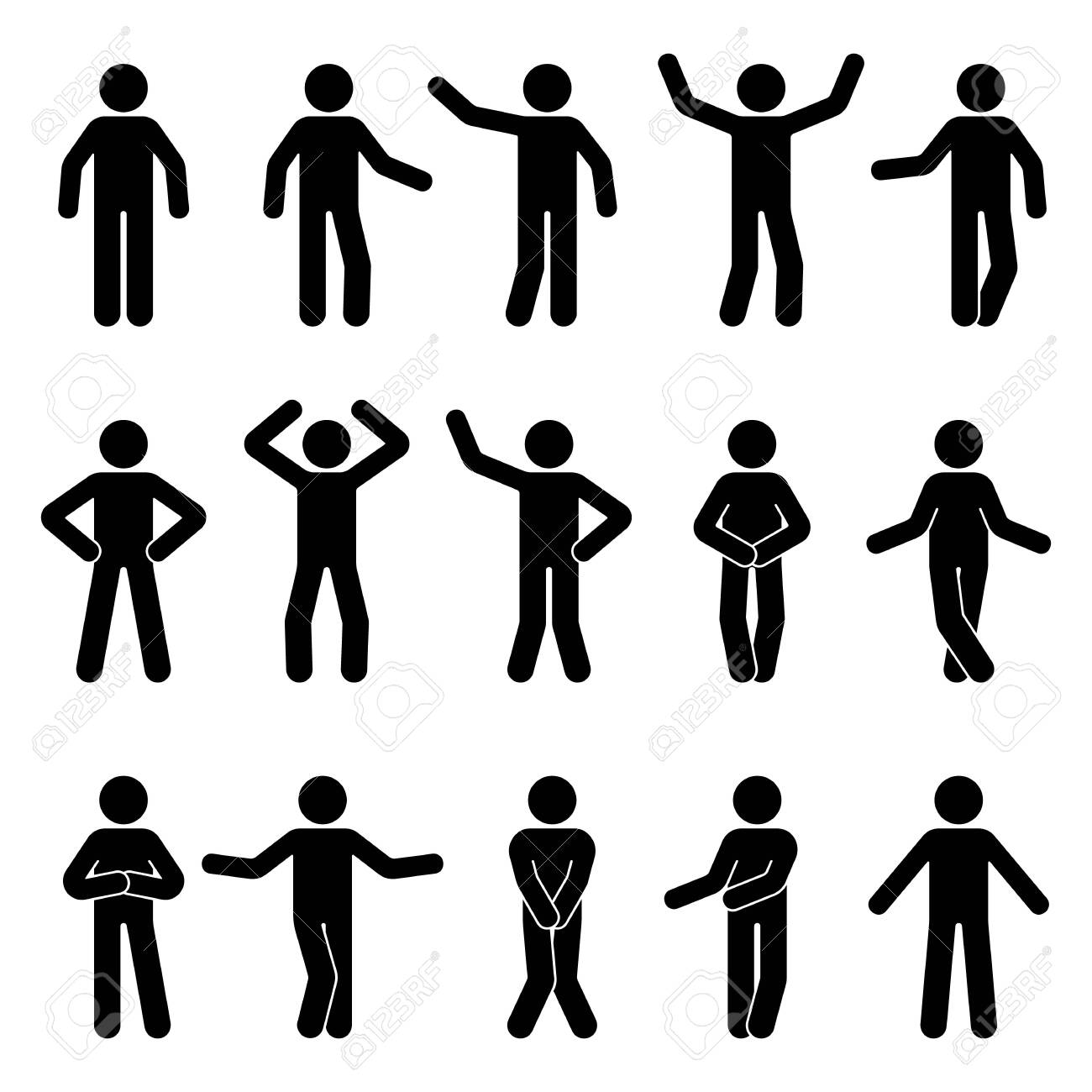 Stick figure man standing front view different poses vector icon pictogram set. Black and white cut out people human silhouette on white background - 134332747