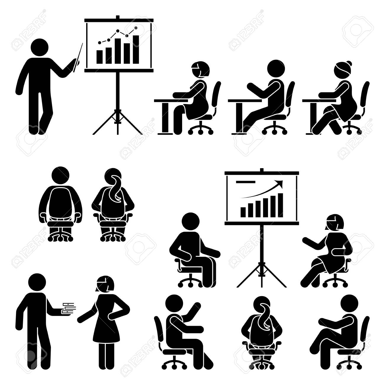 Stick figure man, woman teaching, training, studying workshop, lesson, conference, meeting vector icon set. Male, female, student, employee at office, school, class, course people silhouette on white - 142988139