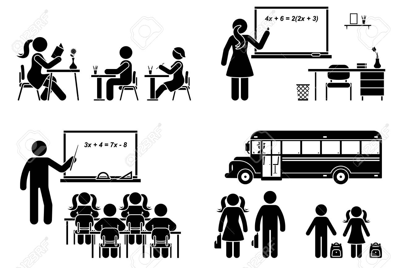 Stick figure school boy, girl sitting in class, lesson, writing, reading, learning vector icon pictogram. Female, male teacher teaching, standing at blackboard set on white - 144567216