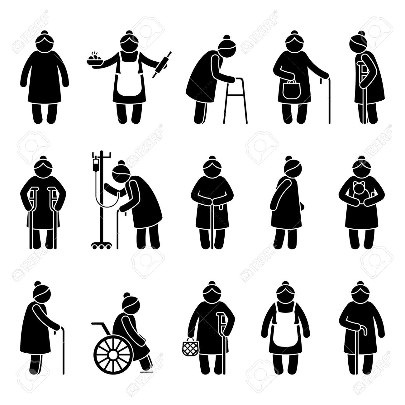 Grandmother stick figure woman walking, standing with walker, cane, crutch, drop counter, cat, sitting on wheelchair vector icon pictogram. Old, aged grandma on white - 169786153