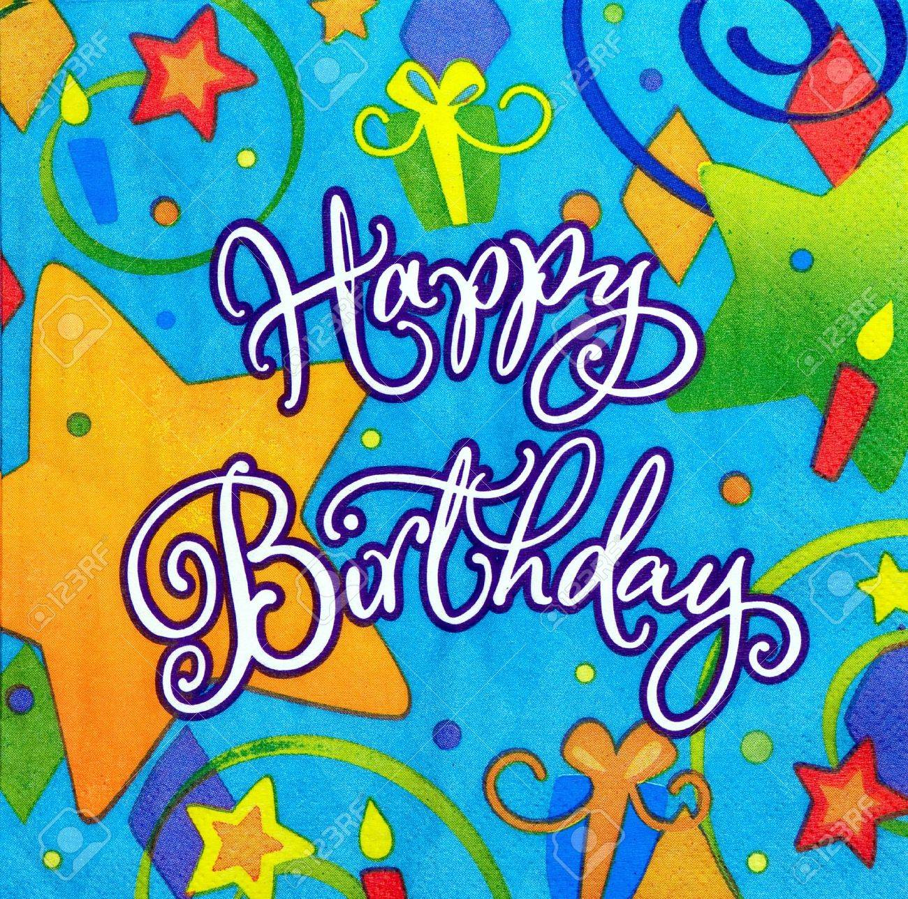 color background of happy birthday message stock photo picture