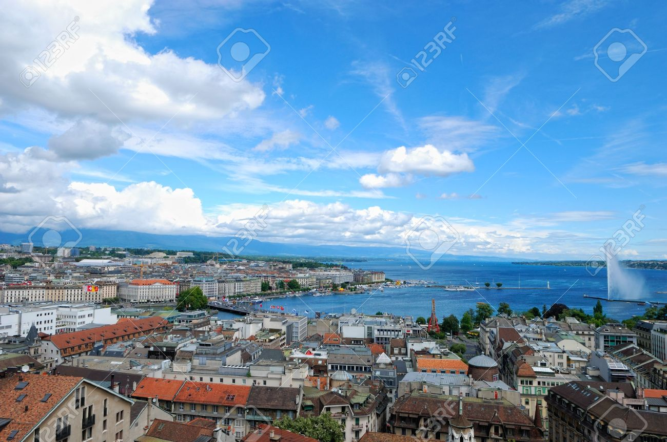 panoramic view of Geneva, Switzerland from Cathedral Saint Pierre Stock Photo - 10323700