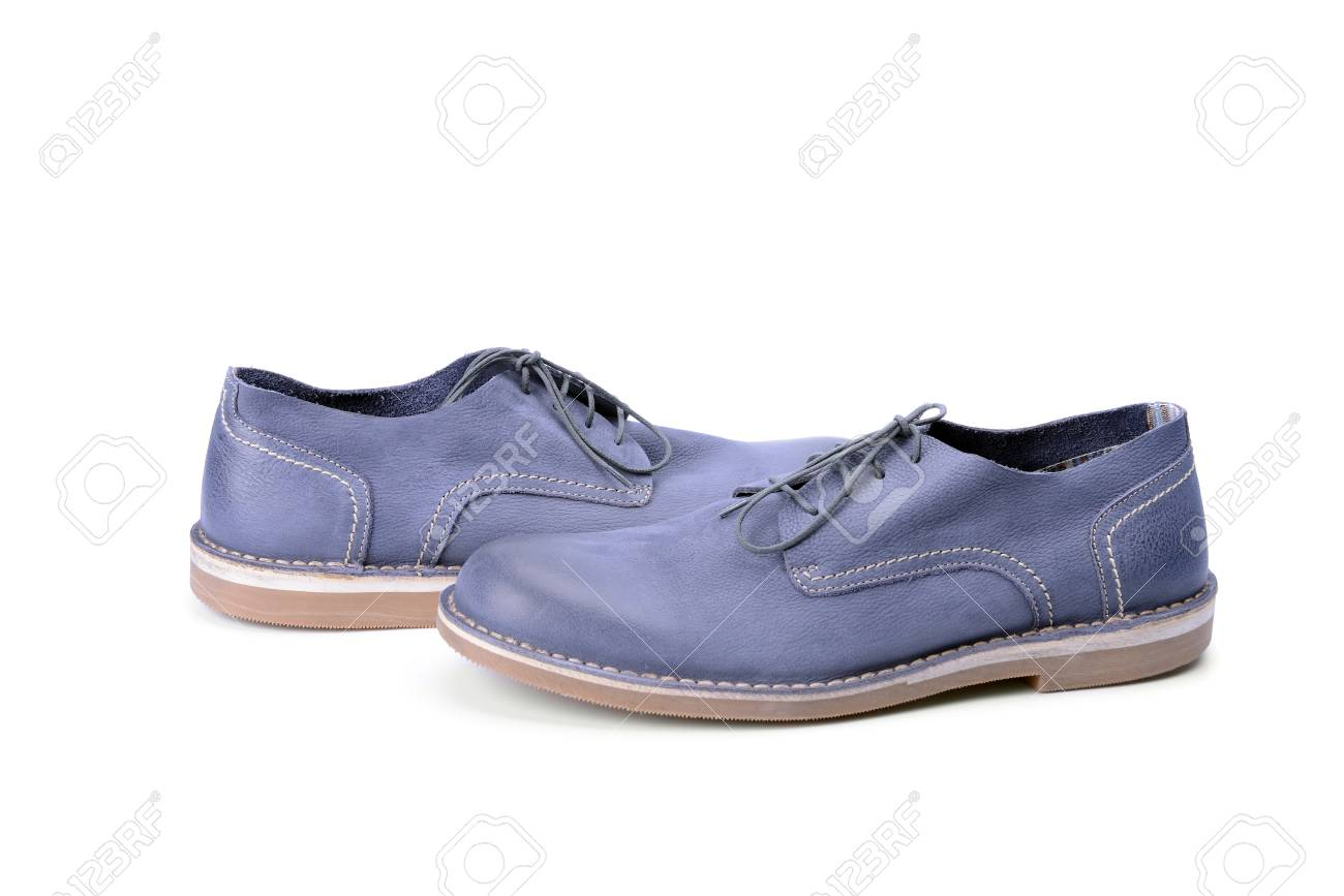 Blue Male Shoes Isolated On White Background