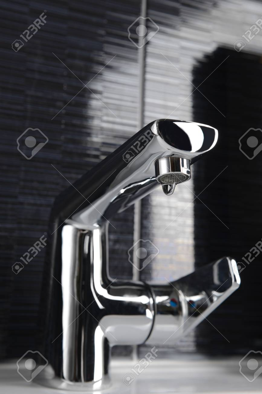 Closeup Of Chrome Bathroom Faucet Stock Photo, Picture And Royalty ...