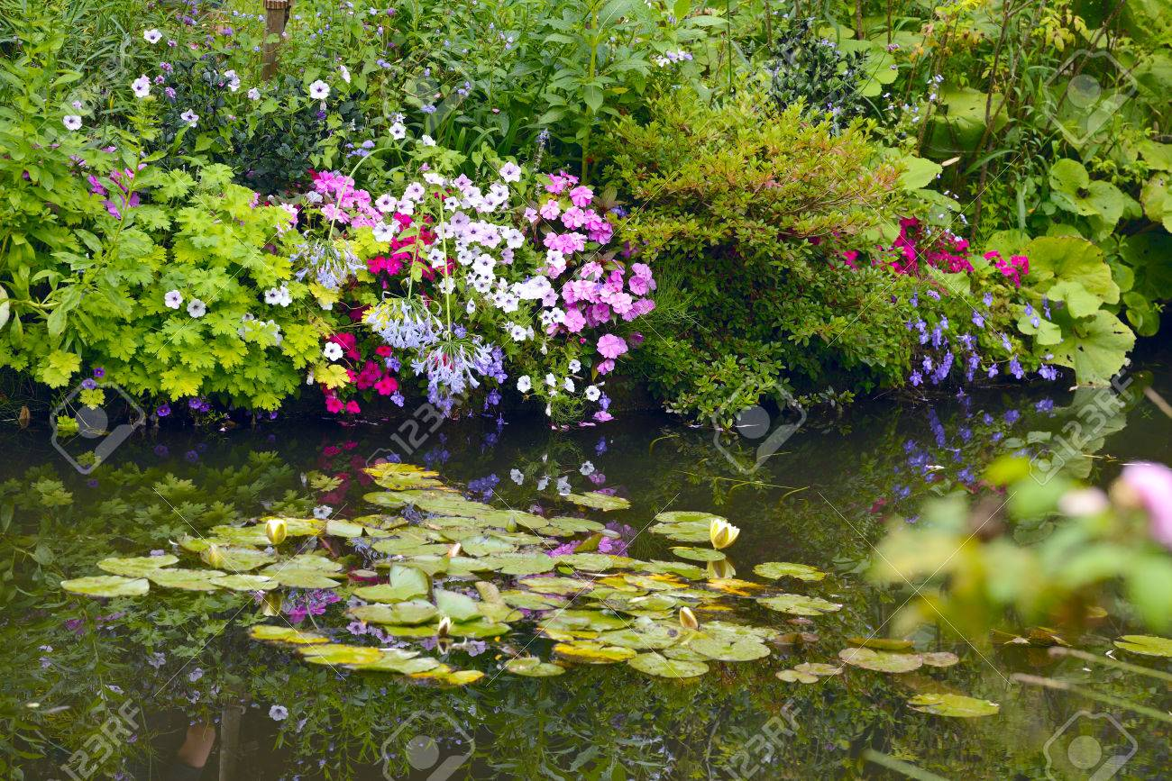 Beautiful Claude Monet\'s Garden Of Giverny, Normandy, France.. Stock ...