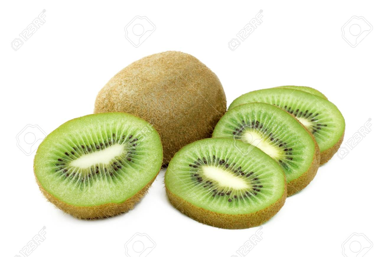 Fresh Kiwi, whole, sliced, and half, isolated on a white background copy space Stock Photo - 8993965