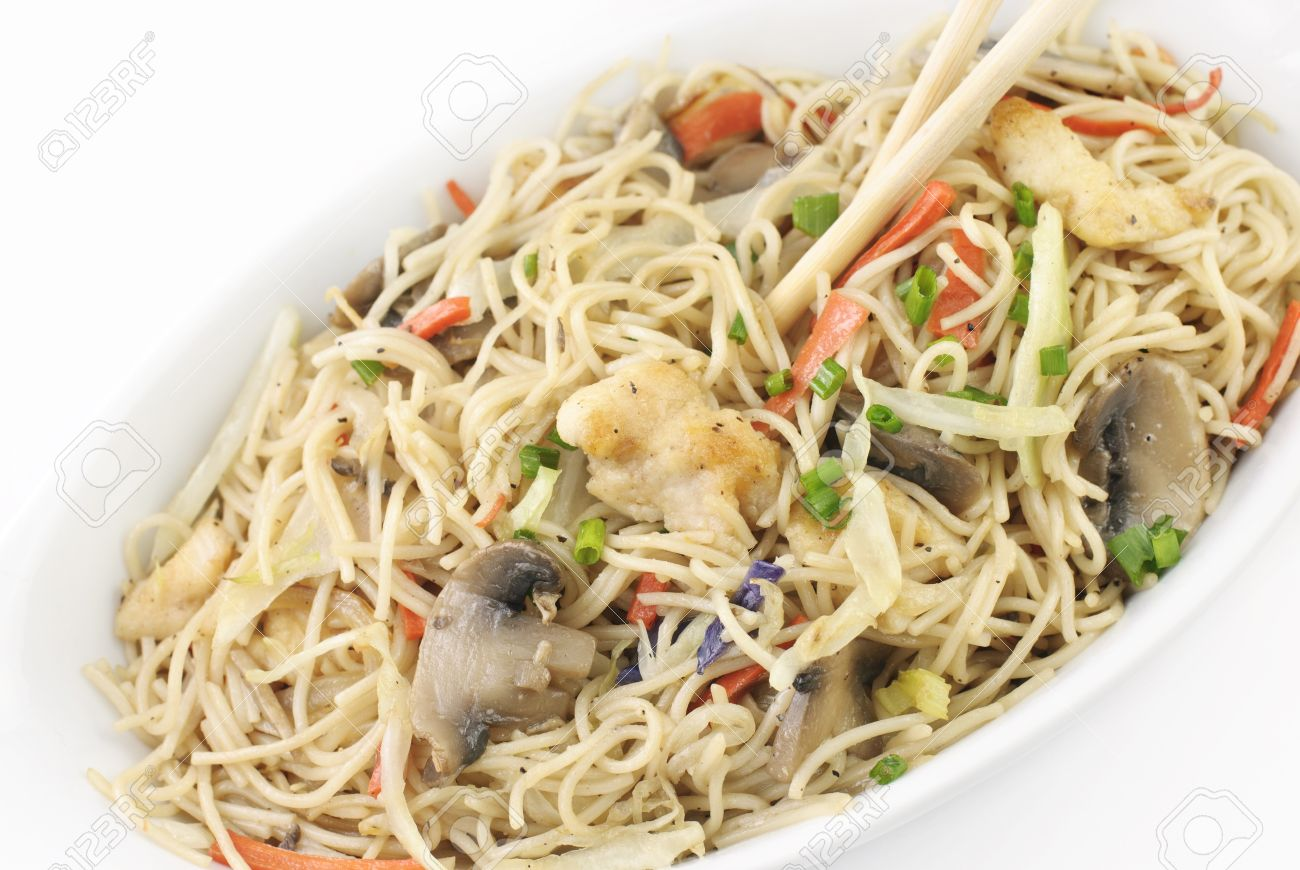 Chinese Chicken And Vegetable Stir Fry With Rice Noodles Chicken Stock Photo Picture And Royalty Free Image Image 9267391