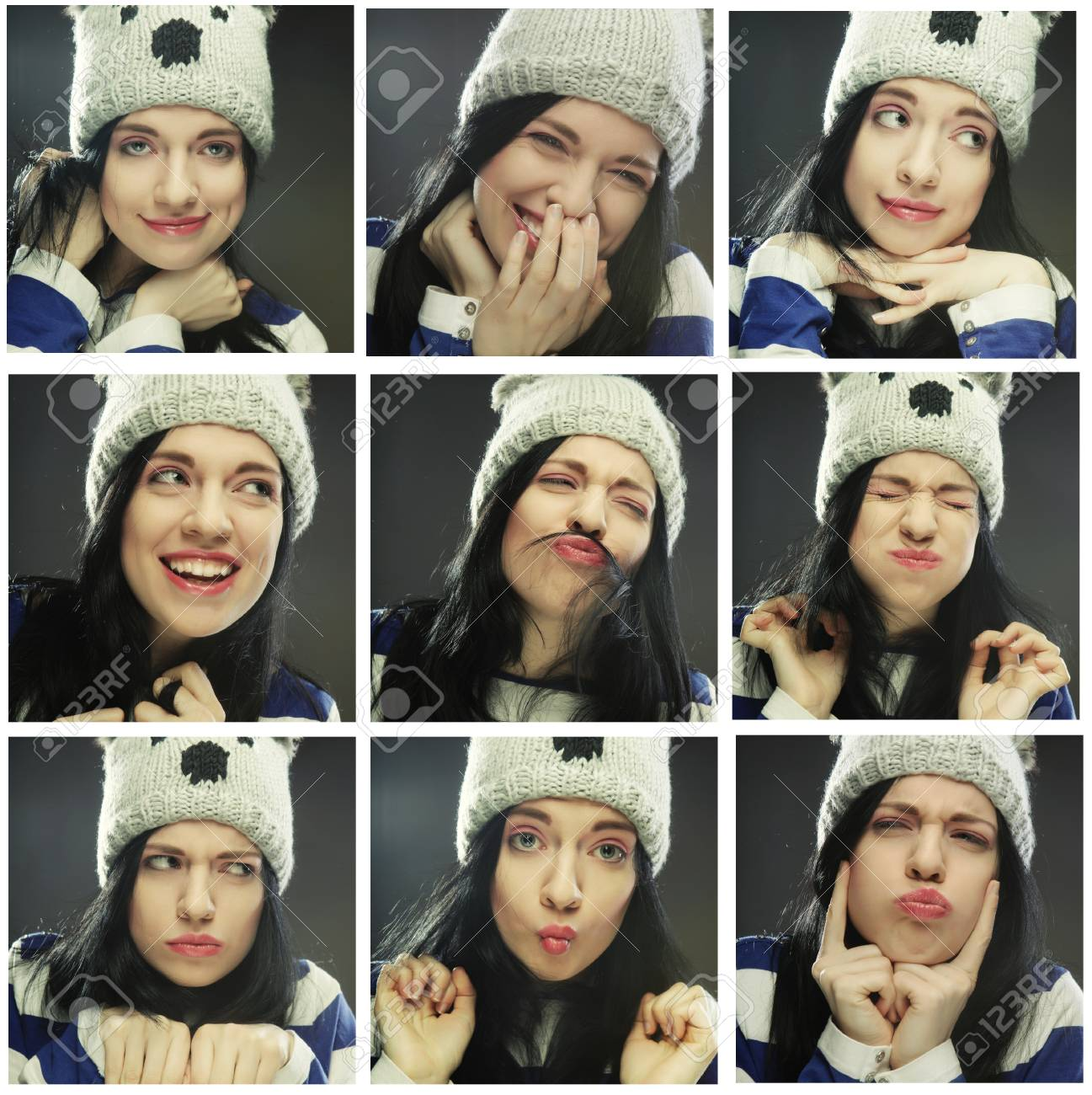 collage of the same woman in winter hat making diferent expressions