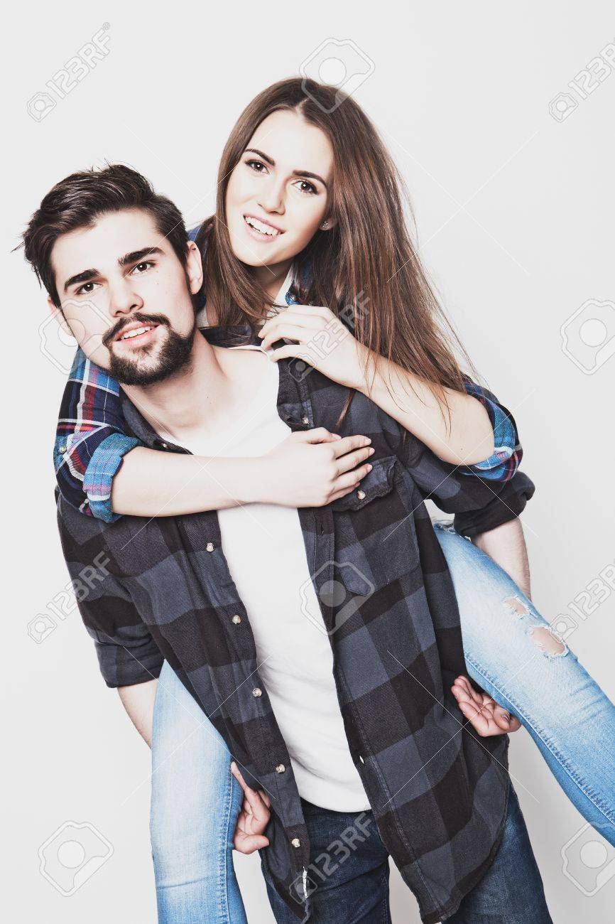 Emotional life style happiness and people concept happy loving couple young man