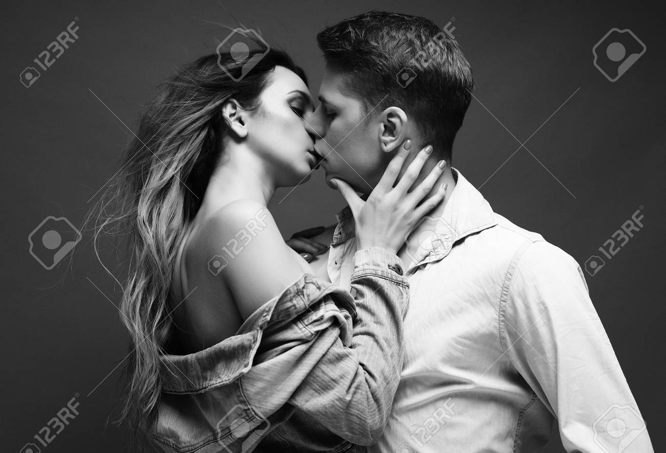 Fashion shoot of a sexy couple black and white picture