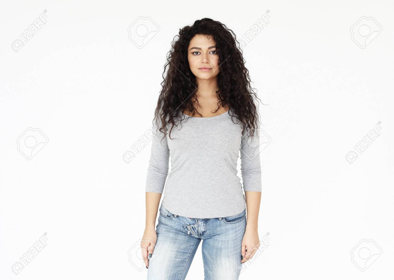 young smiling african woman wearing casual - 124095632