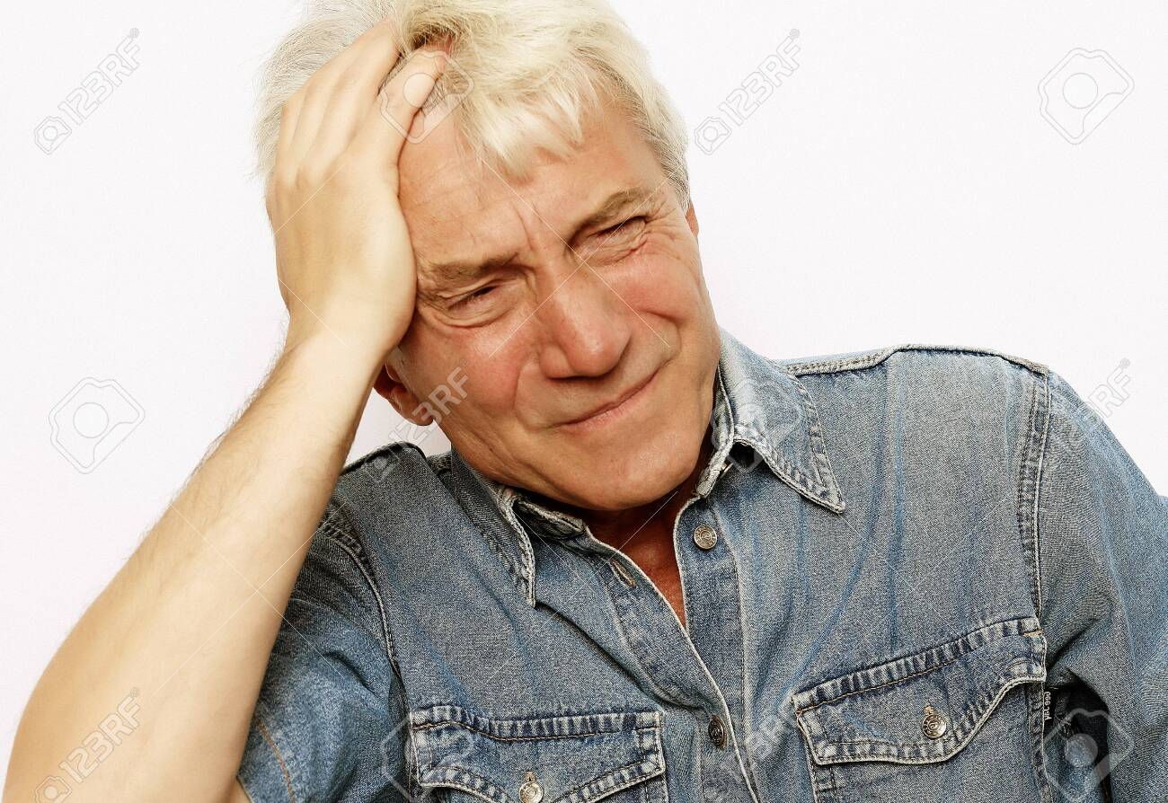 lifestyle, health and people concept: Senior man has headache, on white background - 151477859