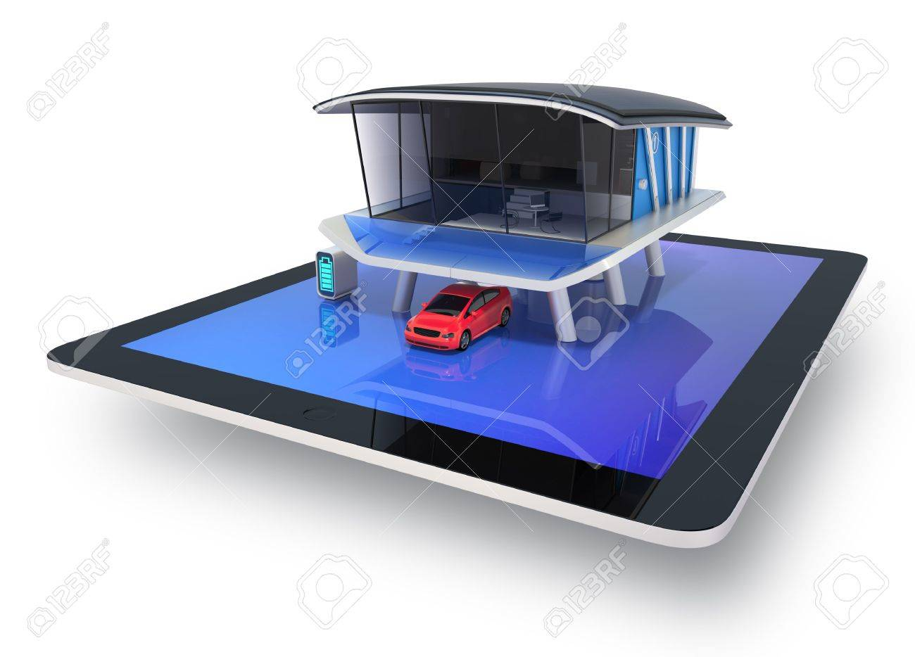 Design house car - Stock Photo Stylish Futuristic Design House On A Tablet Screen With Solar Panel Home Battery System Electric Car Clipping Path Available